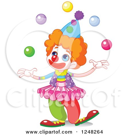 Clipart of a Cute Little Clown Juggling - Royalty Free Vector Illustration by Pushkin