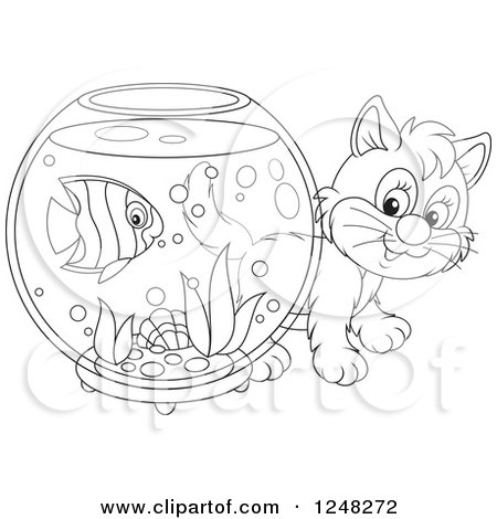Clipart Of A Black And White Cute Kitten Looking Around A Fish Bowl