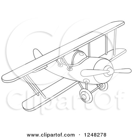 Clipart of a Black and White Biplane Flying - Royalty Free Vector Illustration by Alex Bannykh