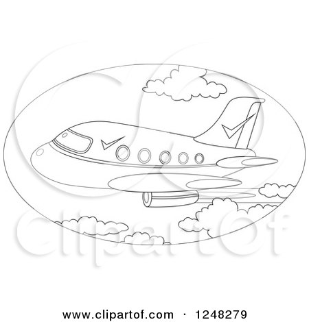 Clipart of a Black and White Commercial Plane Flying - Royalty Free Vector Illustration by Alex Bannykh