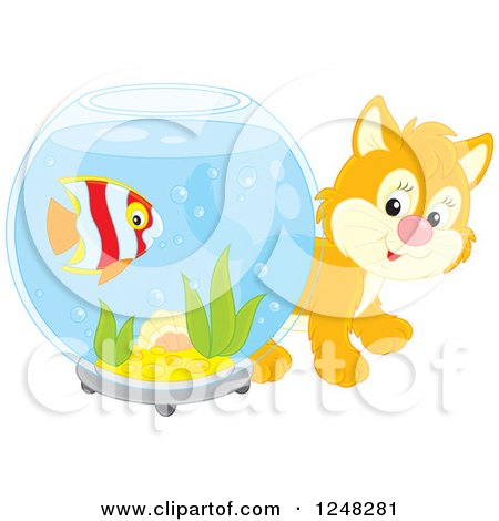 Clipart of a Cute Orange Kitten Looking Around a Fish Bowl - Royalty Free Vector Illustration by Alex Bannykh