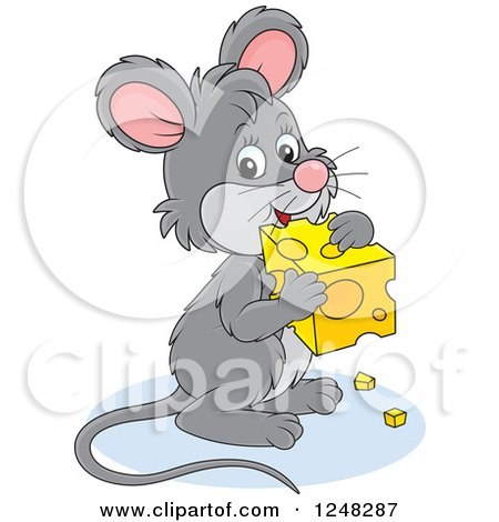 Clipart of a Cute Gray Mouse Holding Cheese - Royalty Free Vector Illustration by Alex Bannykh