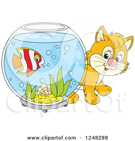 Clipart of a Cute Ginger Kitten Looking Around a Fish Bowl - Royalty Free Vector Illustration by Alex Bannykh