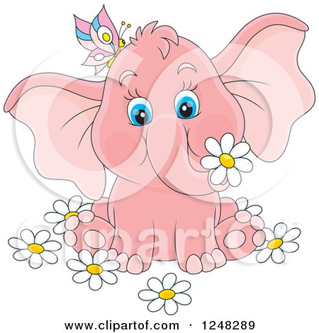 Clipart of a Cute Pink Elephant with a Butterfly and Flowers - Royalty Free Vector Illustration by Alex Bannykh