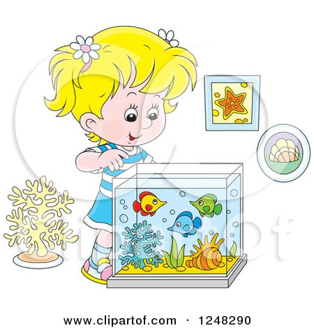 Clipart of a Blond Girl Looking into a Fish Tank - Royalty Free Vector Illustration by Alex Bannykh