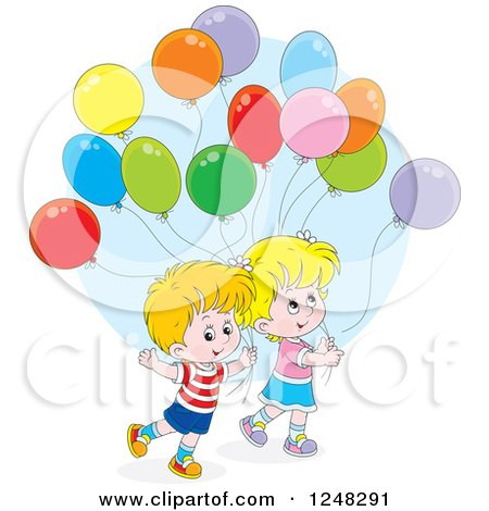 Clipart of Caucasian Children with Party Balloons - Royalty Free Vector Illustration by Alex Bannykh