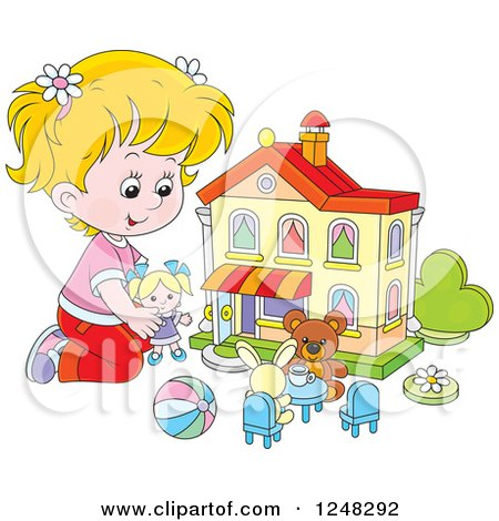 Clipart of a Blond Girl Playing with Toys at a Doll House - Royalty Free Vector Illustration by Alex Bannykh