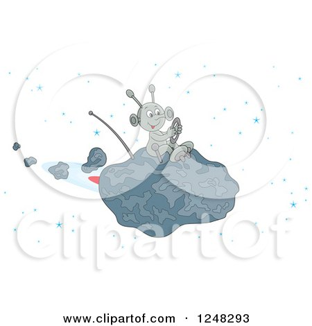 Clipart Of A Happy Alien Flying An Asteroid Spaceship Royalty Free Vector Illustration