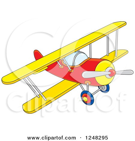 Clipart of a Colorful Biplane Flying - Royalty Free Vector Illustration by Alex Bannykh