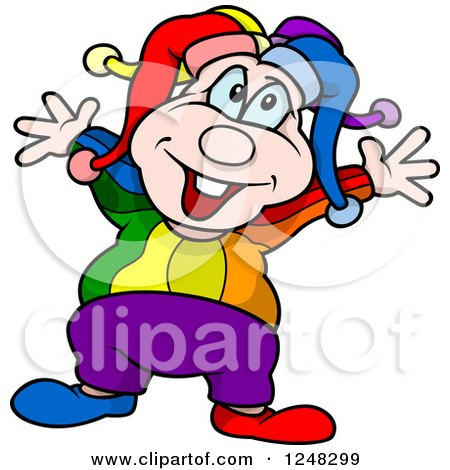 Clipart of a Happy Clown Holding His Arms out - Royalty Free Vector Illustration by dero