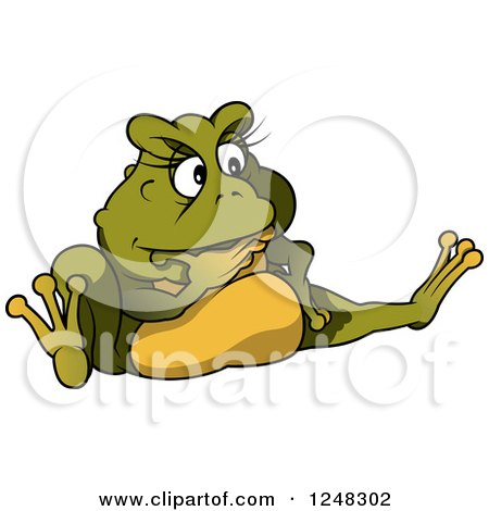 Clipart of a Thinking Green Female Toad Frog - Royalty Free Vector Illustration by dero