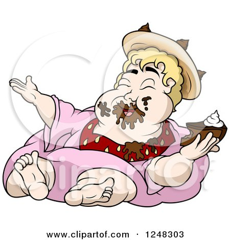 Clipart of a Fat Blond King Eating Chocolate Cake - Royalty Free ...