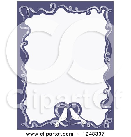 Clipart Of A Wedding Dove And Ribbon Heart Border With Text Space