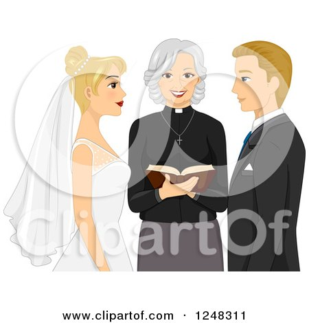 Clipart of a Clergy Woman Marrying a Blond Caucasian Couple - Royalty Free Vector Illustration by BNP Design Studio