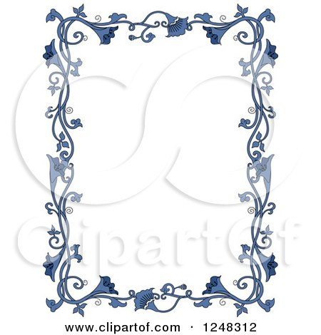 clipart of a border of vintage blue floral vines royalty free rh clipartof com Baptism Borders Clip Art Vintage Clip Art Borders