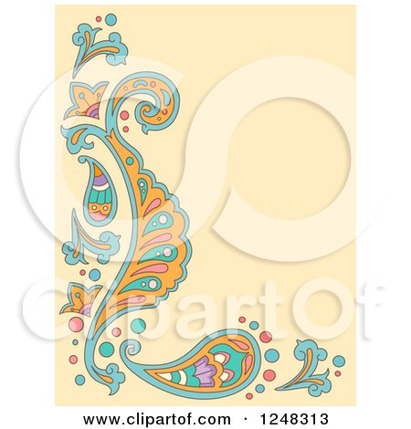 Clipart of a Tan Paisley Background with Text Space - Royalty Free Vector Illustration by BNP Design Studio