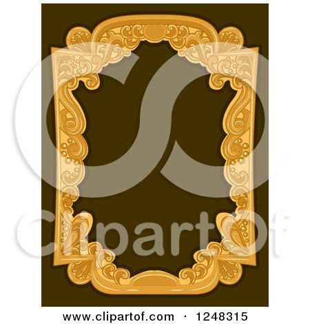 Clipart of a Vintage Swirl Frame on Brown - Royalty Free Vector Illustration by BNP Design Studio