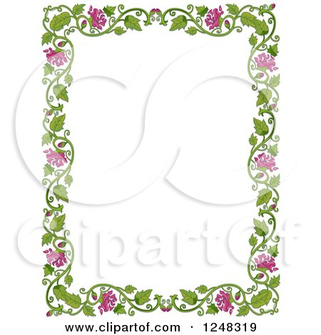 Clipart of a Green Leafy Vine and Pink Flower Border - Royalty Free Vector Illustration by BNP Design Studio