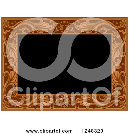 Clipart of a Carved Floral Wooden Border on Black - Royalty Free Vector Illustration by BNP Design Studio