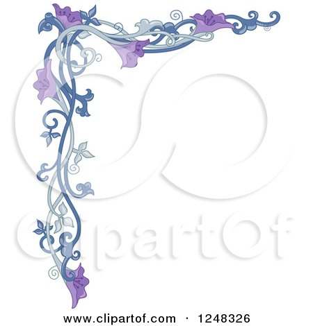Clipart Of A Purple Floral Vine Border Royalty Free Vector