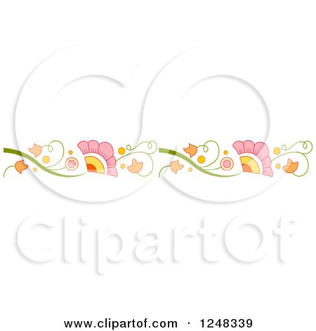 Clipart of a Colorful Floral Vine Border - Royalty Free Vector Illustration by BNP Design Studio