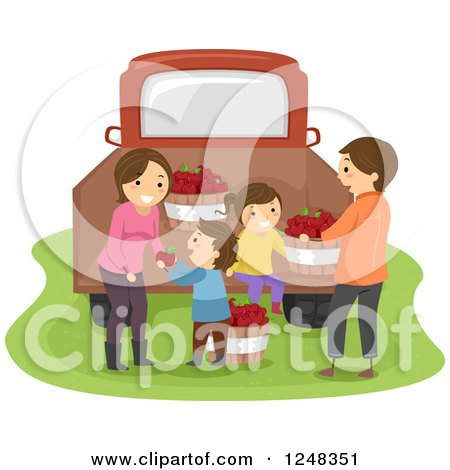 Clipart of a Happy Farm Family with Apple Bushels at a Truck - Royalty Free Vector Illustration by BNP Design Studio