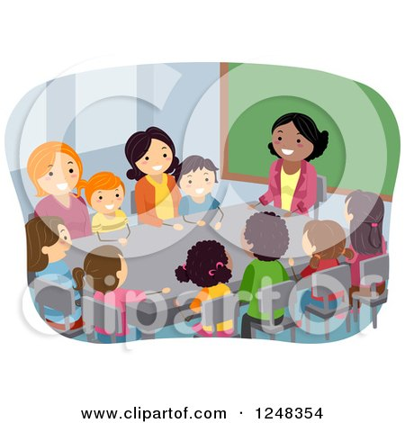Clipart of a Female Teacher with Parents and Students in a PTA Meeting at a Table - Royalty Free Vector Illustration by BNP Design Studio
