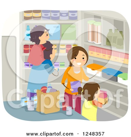 Clipart of a Family Stocking Their Pantry with Food - Royalty Free Vector Illustration by BNP Design Studio