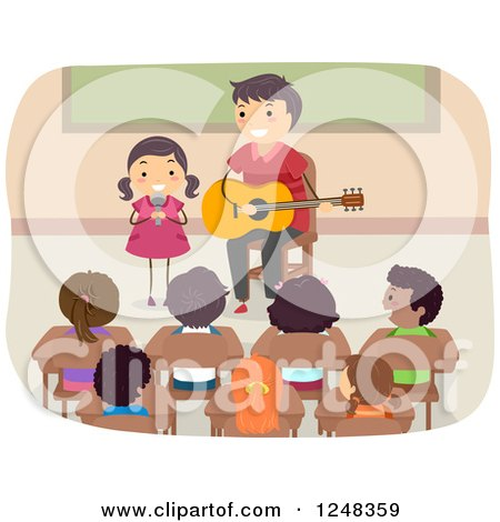 Clipart of a Stick Father and Daughter Singing and Playing a Guitar in Front of a Class - Royalty Free Vector Illustration by BNP Design Studio