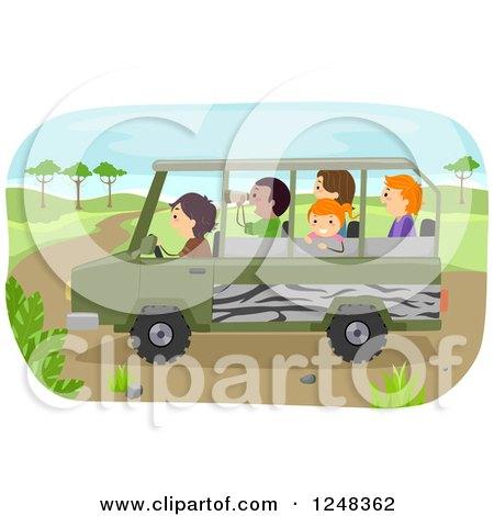 Clipart of Diverse Children on a Safari Tour - Royalty Free Vector Illustration by BNP Design Studio