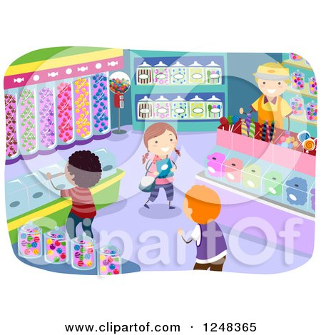 Clipart of Happy Diverse Children in a Candy Store - Royalty Free Vector Illustration by BNP Design Studio