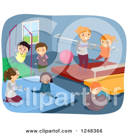 Clipart of Happy Diverse Children Playing and Doing Gymnastics in a Gym - Royalty Free Vector Illustration by BNP Design Studio