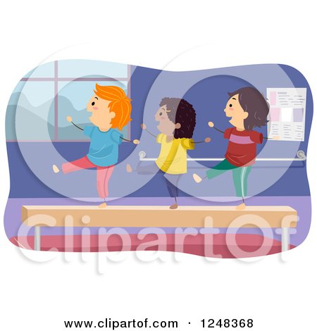 Clipart of Happy Diverse Children on a Balance Beam - Royalty Free Vector Illustration by BNP Design Studio