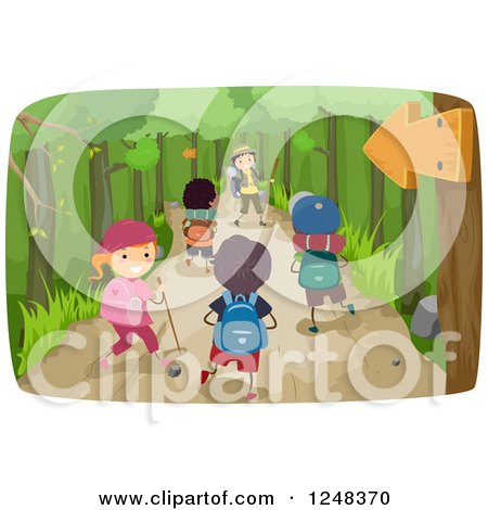 Clipart of Happy Diverse Children Hiking on a Trail - Royalty Free Vector Illustration by BNP Design Studio