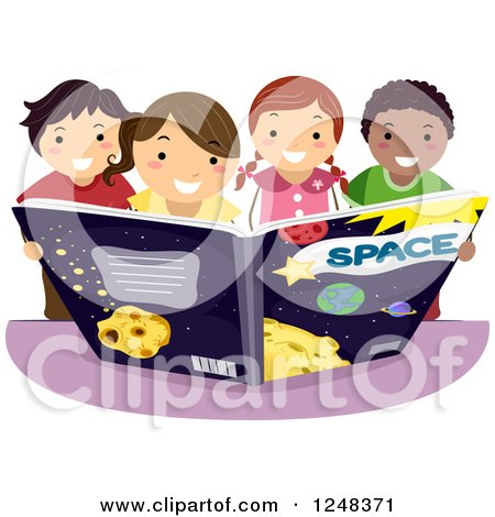 Clipart of Happy Diverse Children Reading an Astronomy ...