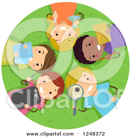 Clipart of Happy Diverse Children with Educational Supplies, Laying in Grass - Royalty Free Vector Illustration by BNP Design Studio