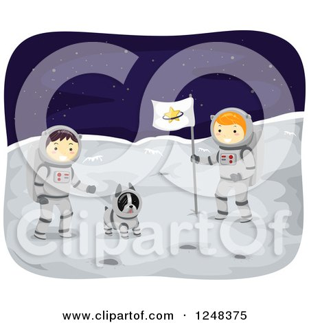 Boston Terrier and Boy Astronauts on the Moon Posters, Art Prints