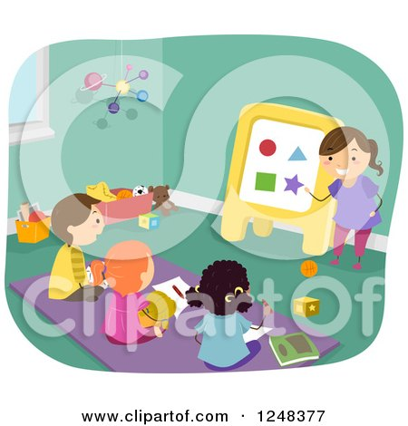 Clipart of a Girl Pretending to Be a Teacher and Friends Learning Shapes - Royalty Free Vector Illustration by BNP Design Studio