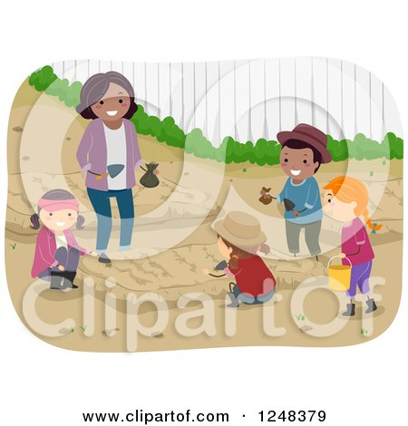 Clipart of a Woman and Diverse Children Learning How to Garden - Royalty Free Vector Illustration by BNP Design Studio