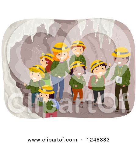 Clipart of Teachers Guides and Students in a Cave Tour - Royalty Free Vector Illustration by BNP Design Studio