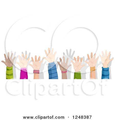 Clipart of a Border of Diverse Children Holding up Their Hands - Royalty Free Vector Illustration by BNP Design Studio