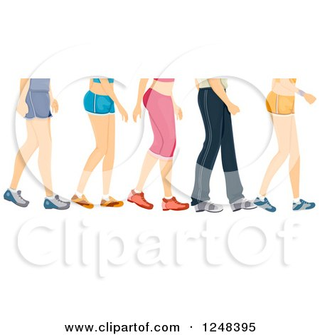 Clipart of Legs of Walking People in Workout Apparel ...