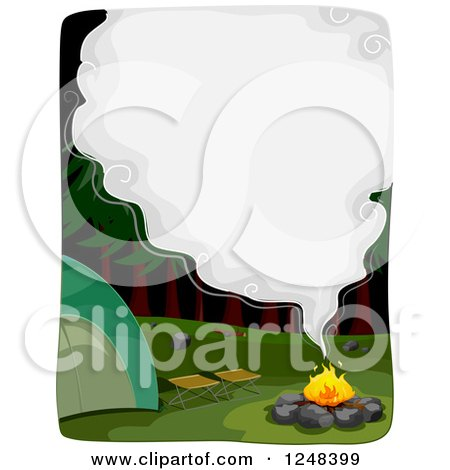 Clipart of a Smoke Cloud with Text Space over a Camp Fire - Royalty Free Vector Illustration by BNP Design Studio