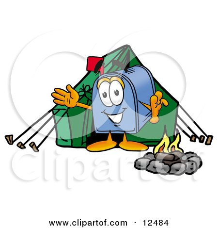Clipart Picture of a Blue Postal Mailbox Cartoon Character Camping With a Tent and Fire by Toons4Biz
