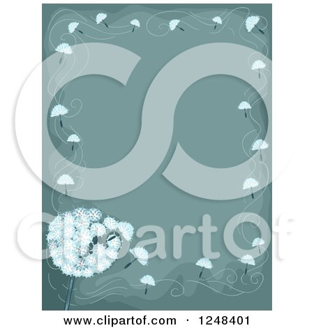 Clipart of a Dandelion Wishy Blow Background with Text Space - Royalty Free Vector Illustration by BNP Design Studio