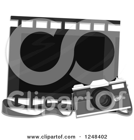 Clipart of a Vintage Camera and Film Strip Frame - Royalty Free Vector Illustration by BNP Design Studio