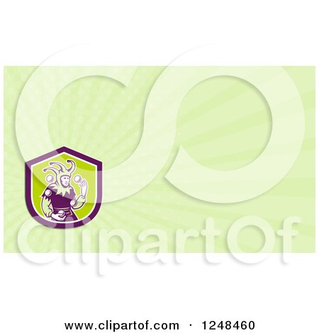 Clipart of a Juggling Jester Background or Business Card Design - Royalty Free Illustration by patrimonio