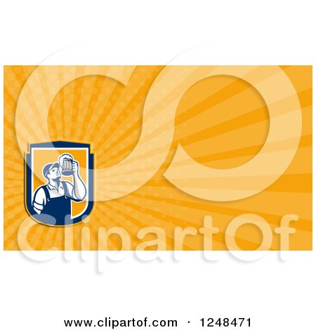 Clipart of a Bartender with Beer Background or Business Card Design - Royalty Free Illustration by patrimonio