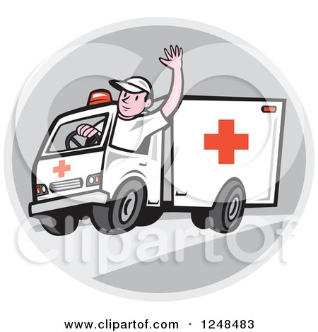 Clipart of a Cartoon Ambulance Driver Waving in a Circle - Royalty Free Vector Illustration by patrimonio