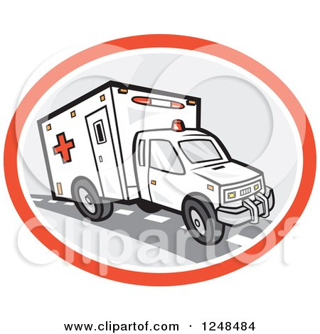 Clipart of an Emergency Ambulance in an Oval - Royalty Free Vector Illustration by patrimonio